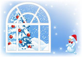 Christmas window — Stockvector