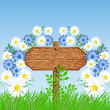 Signboard on the meadow with flowers — Stock Vector