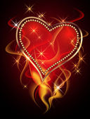 Card with burning heart — Stockvector