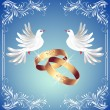 Stock Vector: Wedding rings and two doves
