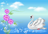 Swan and flowers — Stock Vector