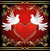 Two dove and heart — Stock Vector