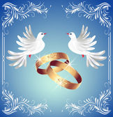 Wedding rings and two doves — Stock Vector