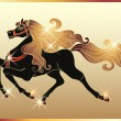 Stock Vector: Galloping horse with gold mane