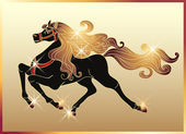 Galloping horse with a gold mane — Stock Vector
