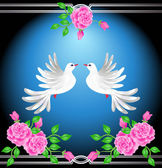 Two doves and roses — Stock Vector