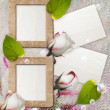 Grunge frame with roses and paper - Stock Photo