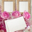 Grunge frame with roses and paper — Stock Photo #9258385