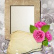 Grunge frame with roses and paper — Stock Photo #9319650