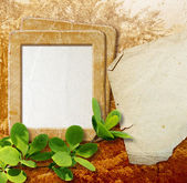 Photo frame with paper for letter — Stock Photo