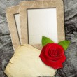 Grunge frame with roses and paper — Stock Photo #9369948