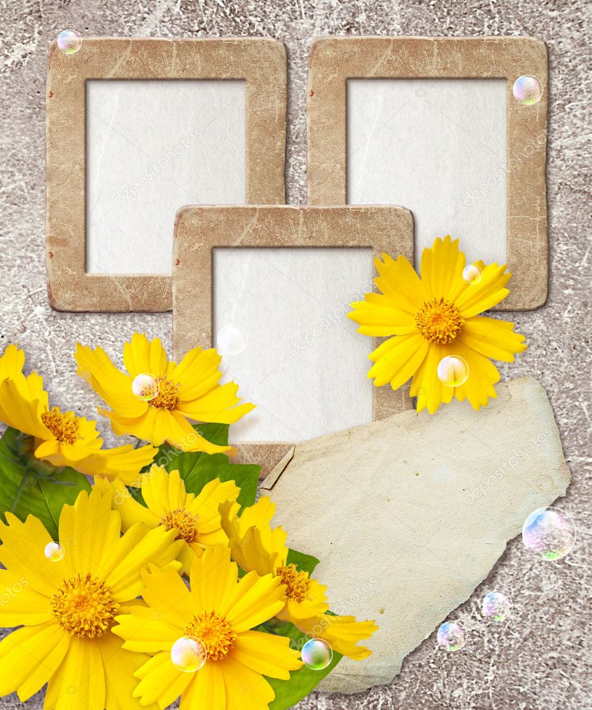 Old grunge photo frame with daisy and paper for letter  Lizenzfreies Foto #9461527