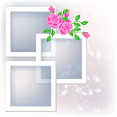 Photo frame and roses — Stockvector