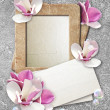 Grunge frame with roses and paper — Stok fotoğraf