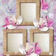 Grunge frame with roses and paper — Stock Photo #9972394