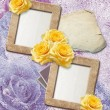 Grunge frames with yellow rose and paper — Foto de Stock