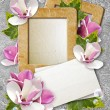 Grunge frame with roses and paper — Stock Photo #9972431