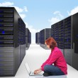 Woman in datacenter — Stock Photo