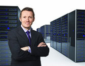 Man and server — Stock Photo