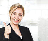 Woman thumb up — Stock Photo