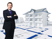 3d house and worker — Stock Photo
