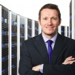 Server 3d and worker — Stock Photo