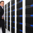 Man and server 3d — Stock Photo