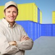 Worker and container — Stock Photo