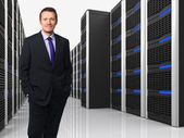 Virtual server 3d and man — Stock Photo