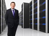 Virtual server 3d and man — Stock Photo