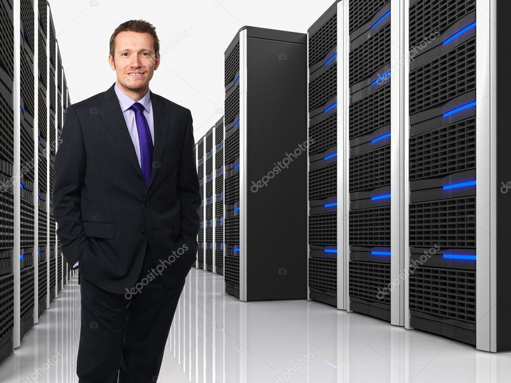 3d image of datacenter with lots of server and man — Stock Photo #9236591