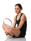 Badminton player portrait — Stock Photo