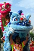 Chinese Lion Dancers in Taiwan's southern city of Kaohsiung — Stock Photo
