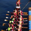 A Dragonboat Team at the Starting Line — Stock Photo