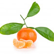 Ripe tangerine with leaves — Photo