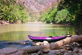Canoe on waters edge — Stock Photo