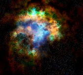 Outer space cloud nebula and stars — Stock Photo