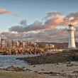 Lighthouse sunrise at wollongong — Stock Photo