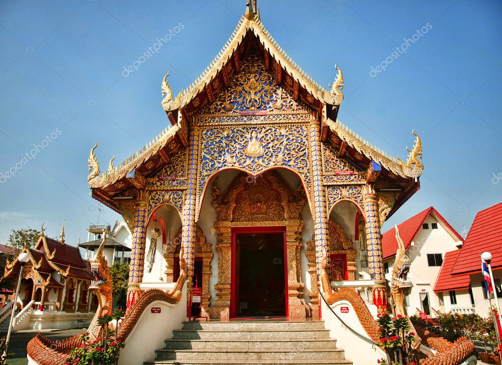 A buddist temple in chaing mai thailand  Stock Photo #9360462
