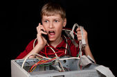 Repair your computer. A young man calls to technical support. — Stock Photo