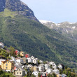 Village at norwegian fjord. — Stock Photo