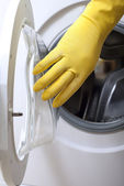 Opening of washing machine. — Stockfoto
