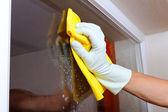čištění oken. — Stock fotografie
