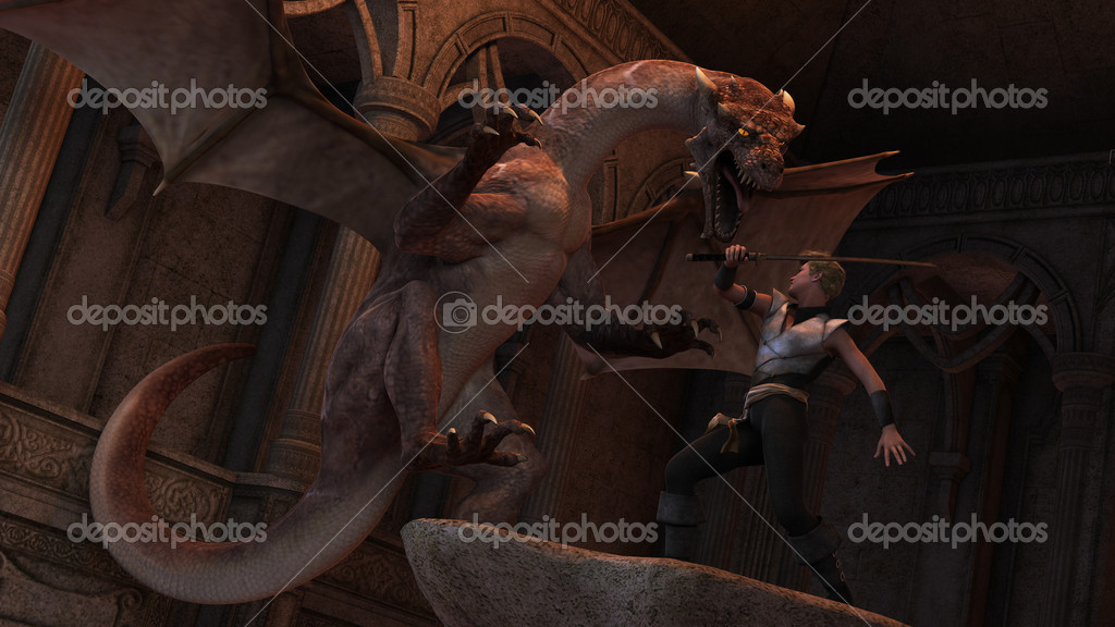 3D rendered scene of fight warrior with fantasy dragon — Stock Photo #8424783
