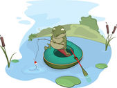 Toad the fisher. Cartoon — Vector de stock