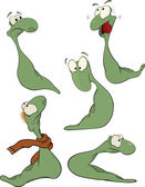 Green worm .Clip-art. Cartoon — Stock Vector