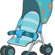 Blue Baby Carriage - Stock Vector