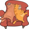 Cats on sofa. Cartoon — Stock Vector #10389615