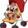 Cub of a rabbit in a children's carriage - Stock Vector