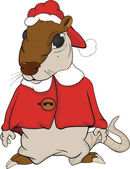 Santa Claus. House rat. Cartoon — Stock Vector